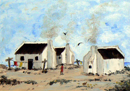 Arniston cottages oil painting