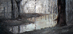 River in forest oil painting