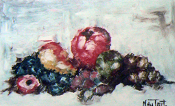 Abstract fruit oil painting
