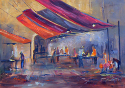Market in Venice painting