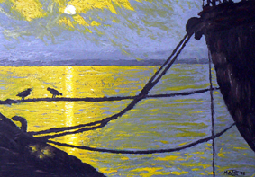 Sunset in harbour painting