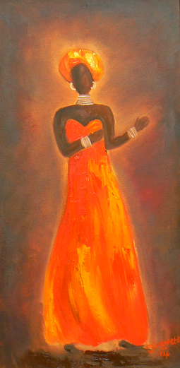 African woman oil painting
