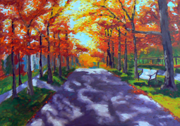 Autumn lane painting