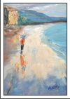 Beach walk oil painting