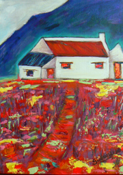 Mountain cottage painting