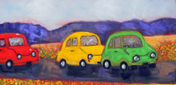 Little cars oil painting