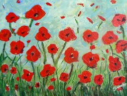 Red poppies in field painting