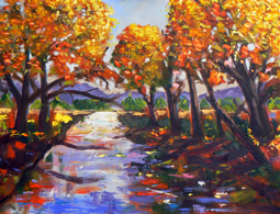 Autumn trees and river oil painting