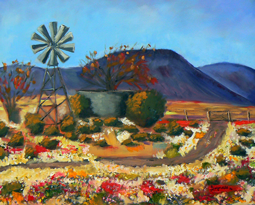 Spring flowers with windmill oil painting