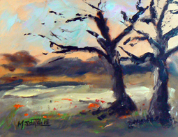 Tree landscape oil painting